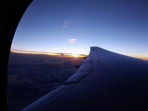 南アフリカ行の飛行機内