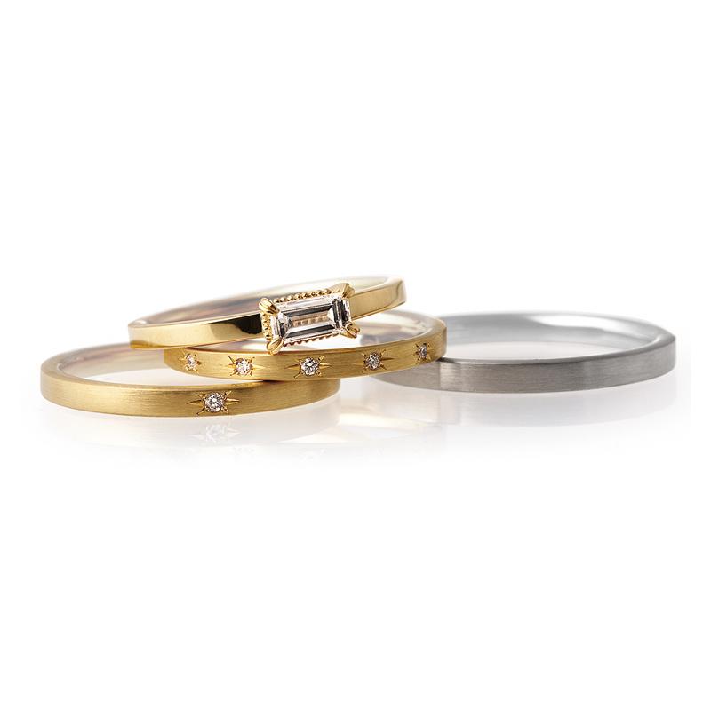 アンティーク可愛い結婚指輪と重ねづけもピッタリかわいい婚約指輪はLUCIEのPalais