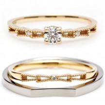 華奢でかわいいリボンをモチーフにした婚約指輪と結婚指輪のセットリングはinfinityloveのリボン