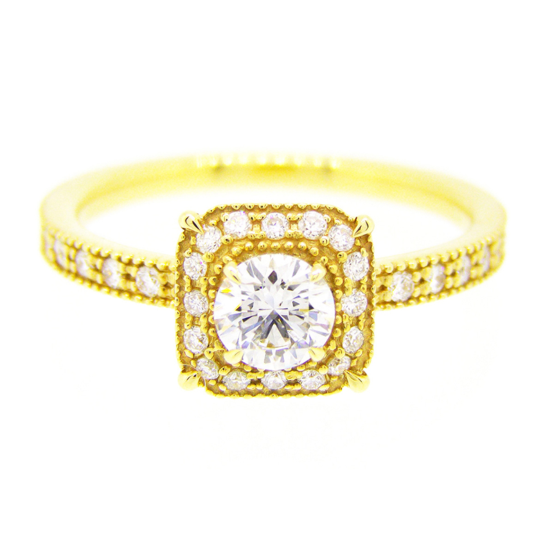 "2013-14limited model""bruges"" millgrain diamond surround ring"