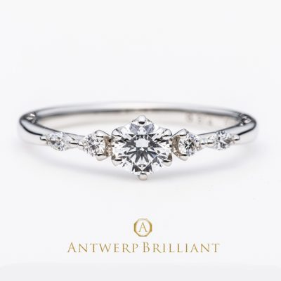 """five star"" round&marquise cut diamond line ring"