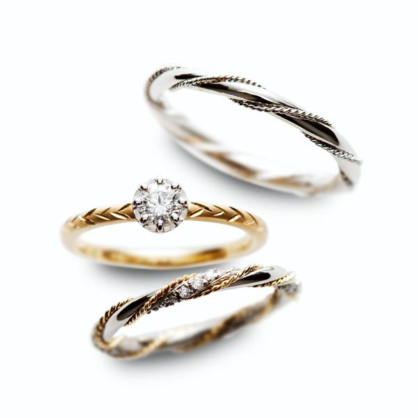 アンティーク可愛いRosettEの結婚指輪と婚約指輪のセットリングはRosettE
