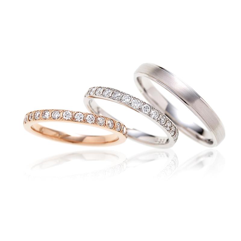 ダイヤモンドがキラキラと輝く水面を表現したはーふエタニティの結婚指輪はBRIDGE
