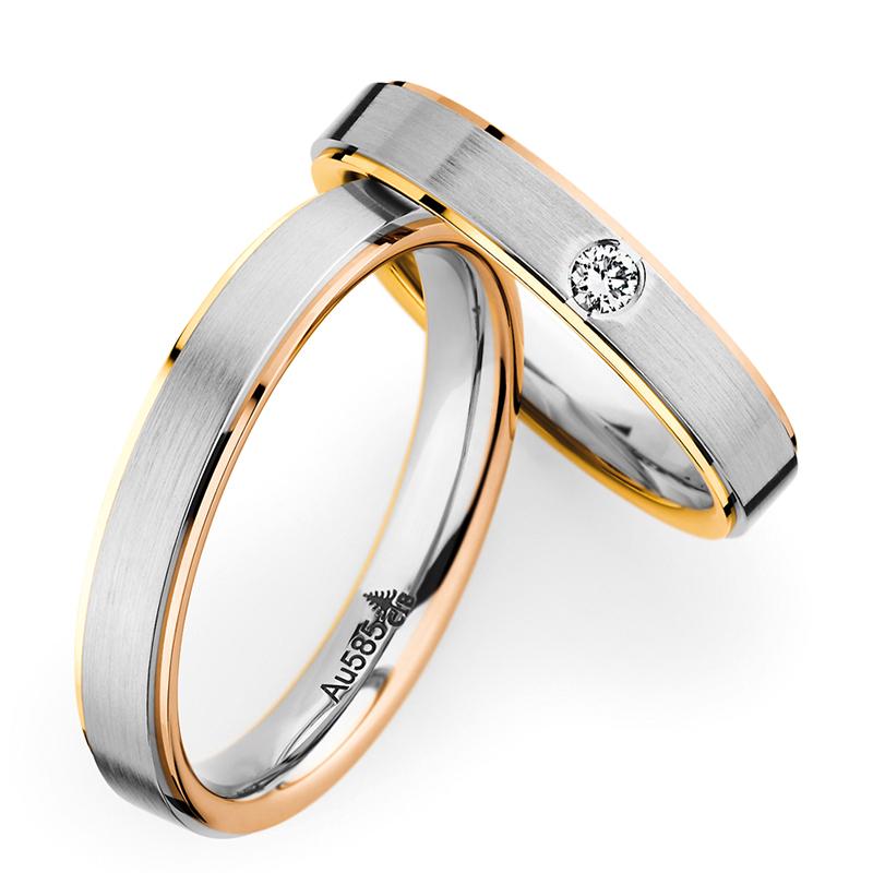 CHRISTIAN BAUERクリスチャン・バウアーのスリーカラーコンビネーションリングシンプルでかっこいいつけやすいマリッジリング結婚指輪は新潟のBROOCHで