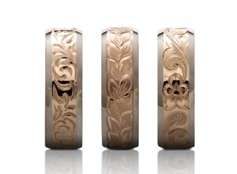 マカナの結婚指輪は本場ハワイで彫り模様を入れます