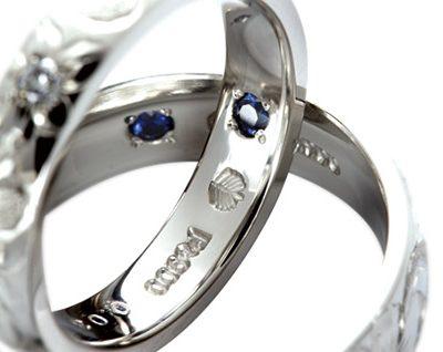 新潟でハワイアンジュエリーの結婚指輪ブランドMAKANAは内側にブルーサファイヤが入っている