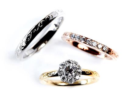 太陽をモチーフにしたクラシカルデザインの可愛い結婚指輪ならRosettEの取り扱いのあるBROOCH