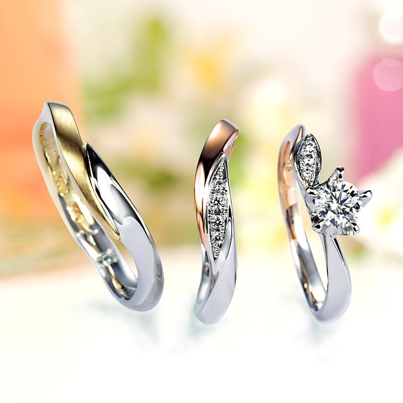 オシャレでかわいい結婚指輪婚約指輪マリッジリングエンゲージリングセットリングはLAPAGEラパージュのMarigoldマリーゴールド
