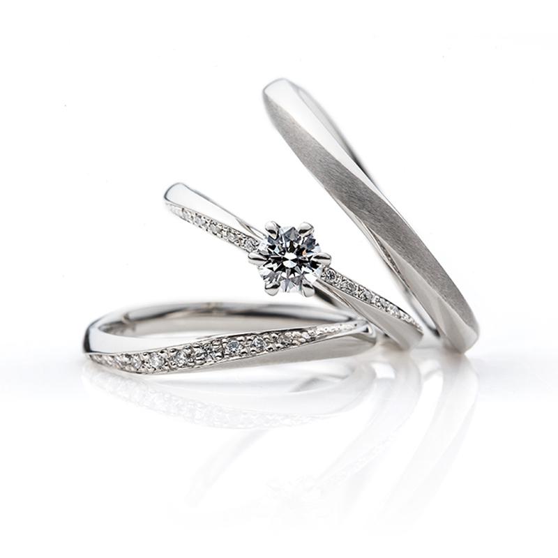 ウェーブのダイヤラインがキレイな結婚指輪婚約指輪新潟のBROOCHで唯一取り扱いのBRIDGEブリッジやわらかな春風