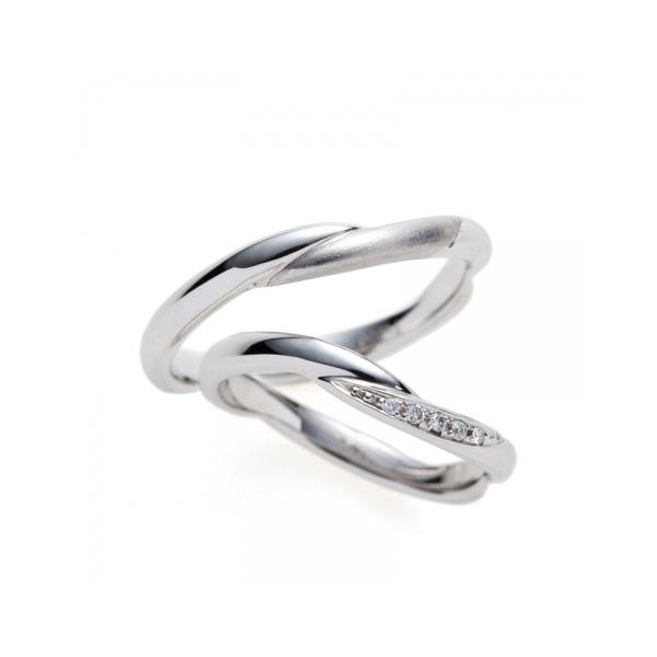 新潟結婚指輪プラチナBRIDGEダイヤモンド可愛いウェーブ全周大人シンプル