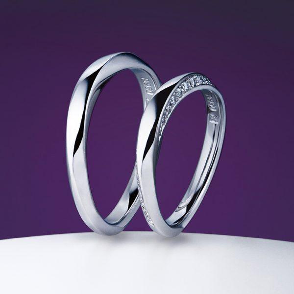 シャープなラインとダイヤセッティングが綺麗な結婚指輪は俄の凛