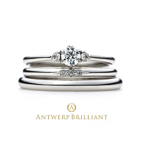 """Asterism"" Three Stone Diamond Ring Set"