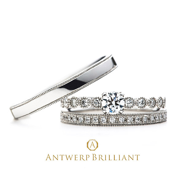 """D-Line Star Classic"" Millgrain Diamond Line Ring Set"