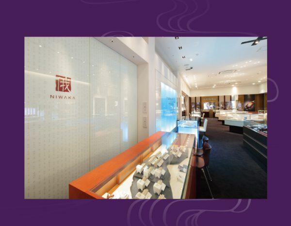 新潟BROOCHのにわかNIWAKAレセプションルーム、広い店内でラグジュアリーは指輪選びを
