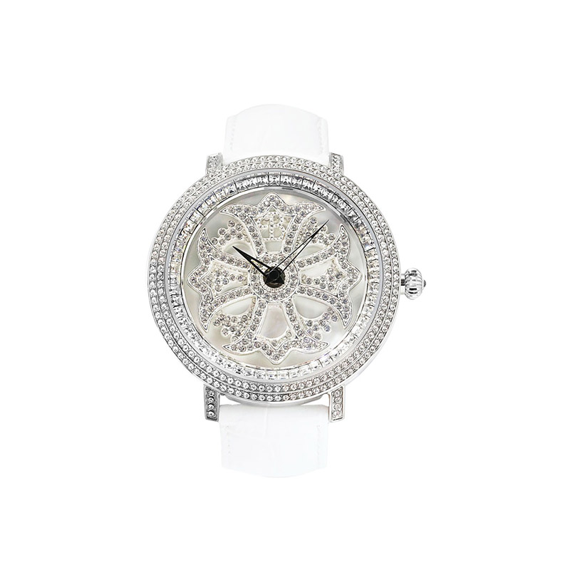 LILY 46MM WHITE x SILVER <革ベルト>