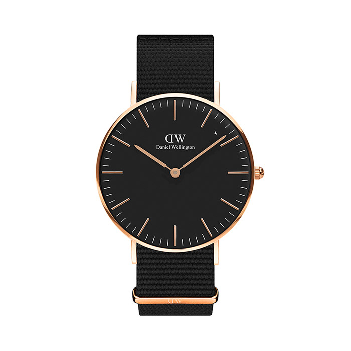 36mm Classic Black CORNWALL / ROSE GOLD