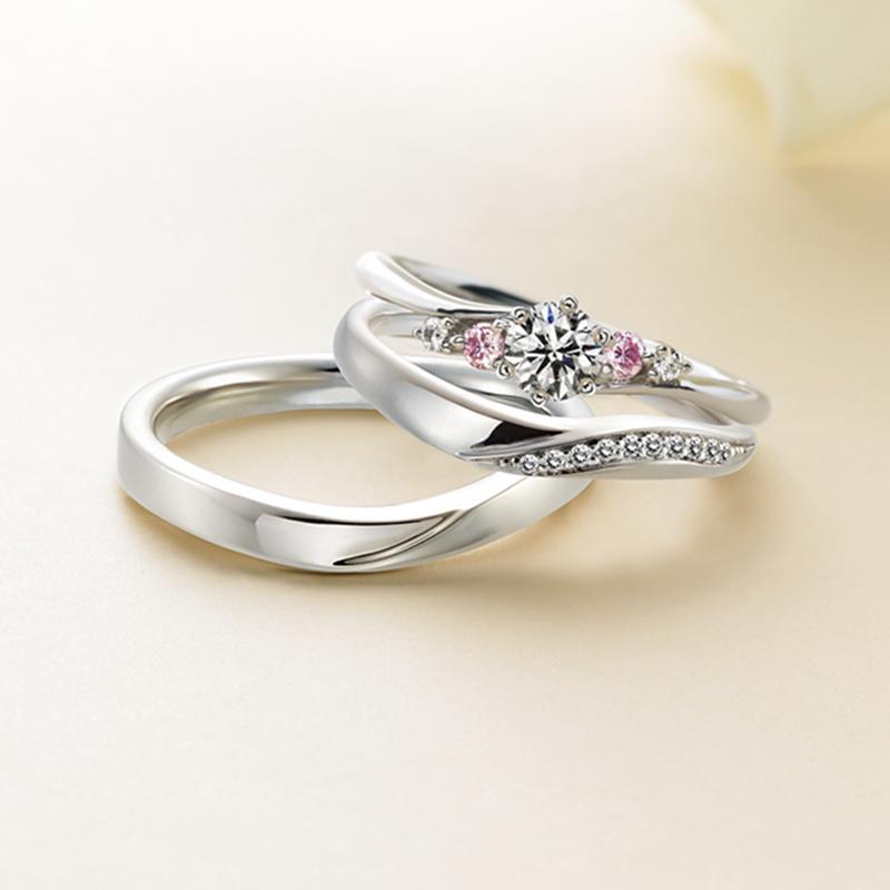 結婚指輪婚約指輪可愛いピンクダイヤモンド繊細華やか女性デザイナー人気
