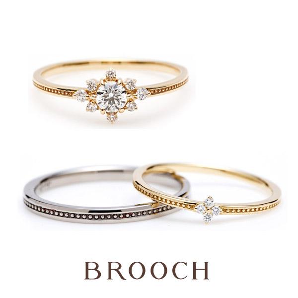 新潟で花モチーフのかわいい結婚指輪ならinfinityloveは新潟でブローチのみの取り扱い