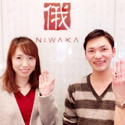 新潟の花嫁に人気の指輪かわいくてシンプルできれいな俄NIWAKAの結婚指輪と婚約指輪はセットリングはBROOCH