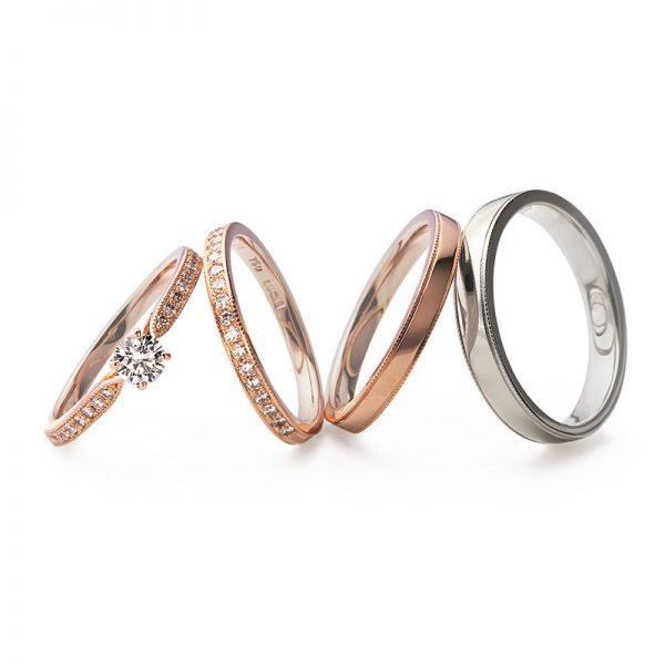 アンティーク調で大人かわいい結婚指輪(マリッジリング)婚約指輪(エンゲージリング)