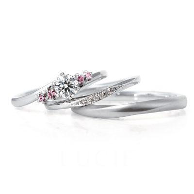 新潟のシンプル可愛いセットリングピンクダイヤモンドがポイント