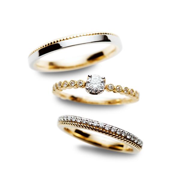 新潟結婚指輪婚約指輪トレンド人気ブランドコンビコンビネーションプラチナゴールドミル打ちアンティーク可愛いカッコいいロゼットろぜっと