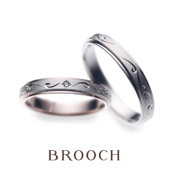 可愛い彫りデザインシンプル綺麗め結婚指輪