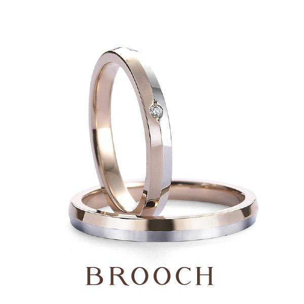 可愛い二色使いやすいシンプルデザインプロメッサ結婚指輪