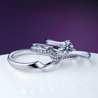 NIWAKAにわかの柊ひいらぎと綾あやのセットリングでダイヤモンドが華やかで嬉しい