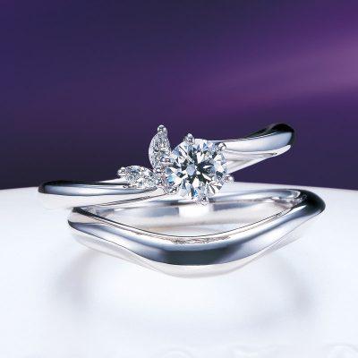 俄NIWAKAにわかの月彩と月の雫のセットで彩ある結婚指輪婚約指輪