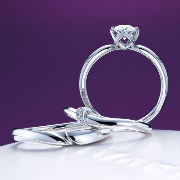 新潟で人気の結婚指輪と婚約指輪 BROOCH 俄(にわか) | NIWAKAダイヤモンドを包み込む固い絆の縁起紐から輝きがあふれる、オシャレジュエリーにわか(ニワカ)の結(ゆい)