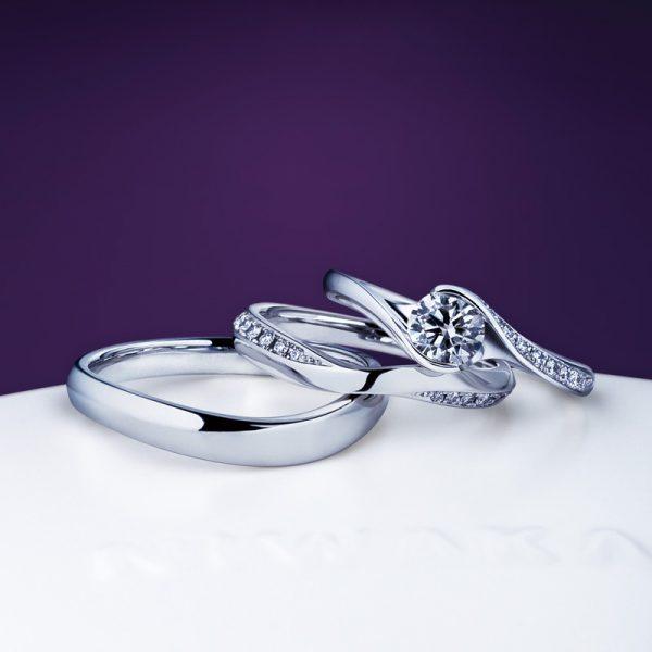 きらりと輝くダイヤモンドが美しいNIWAKAの結婚指輪と婚約指輪のセットリングはにわかの明星と茜雲