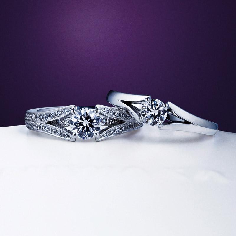 新潟で人気のNIWAKA【にわか】の大胆で綺麗なダイヤモンドの華やかな婚約指輪