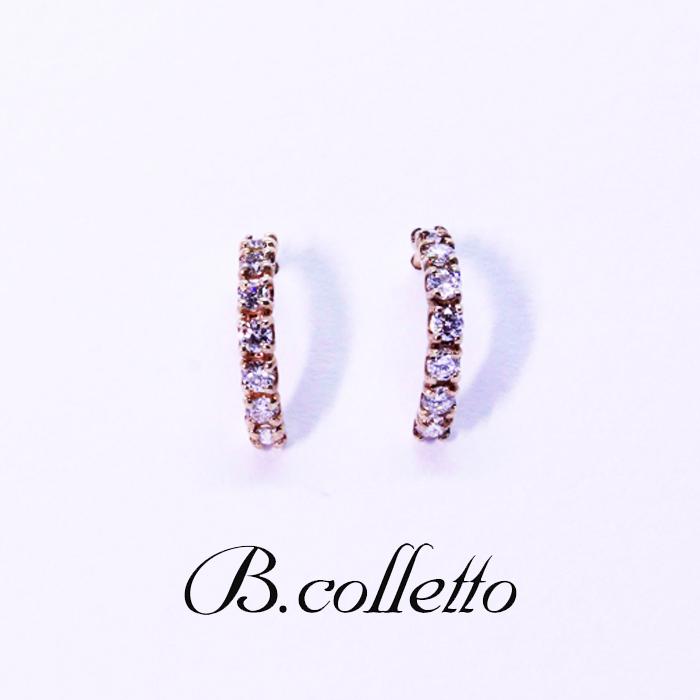 B.colletto ハーフサークルダイヤピアス(イエロー)