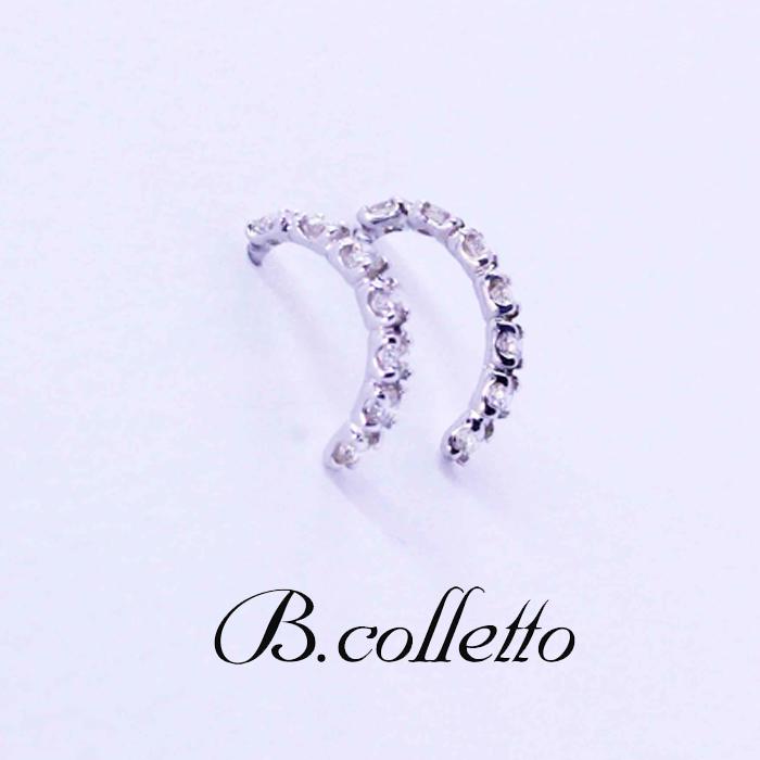 B.colletto ハーフサークルダイヤピアス(ホワイト)