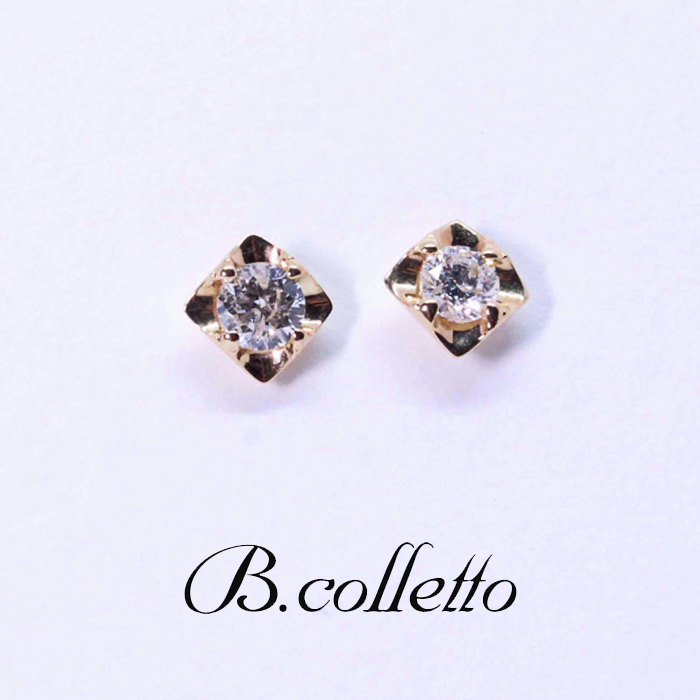 B.colletto ダイヤスクエアピアス