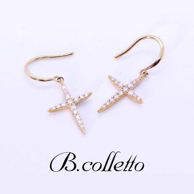 B.colletto ゴールドクロスピアス(フック)