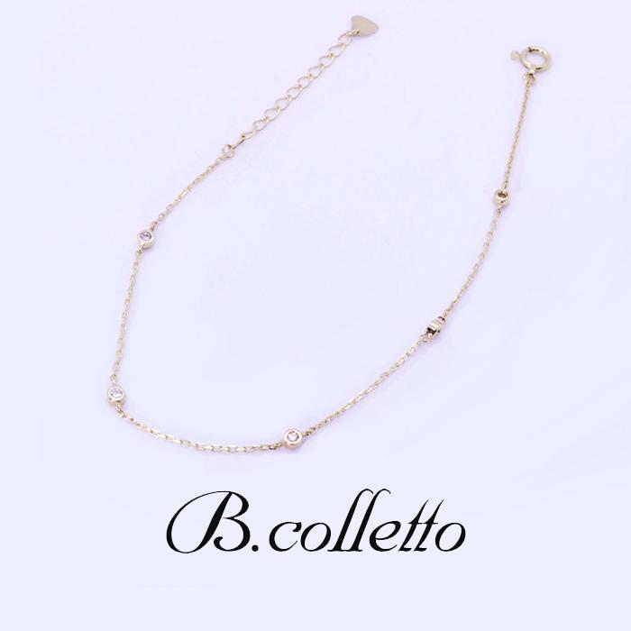 B.colletto ダイヤ6石ゴールドブレスレット