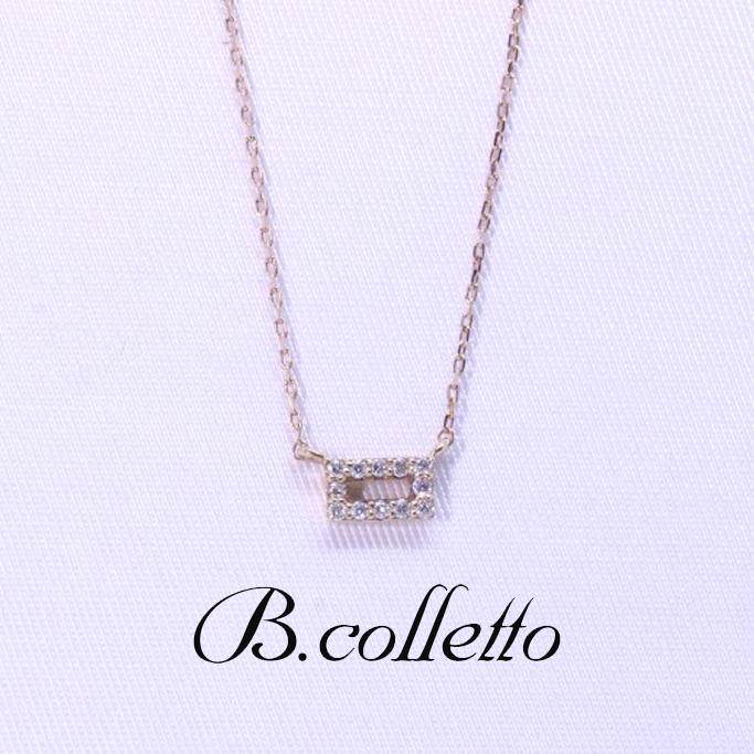 B.colletto スクエアダイヤネックレス