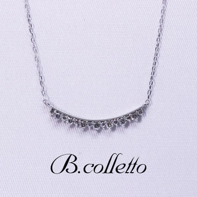 B.colletto 15石ダイヤラインネックレス(ホワイト)