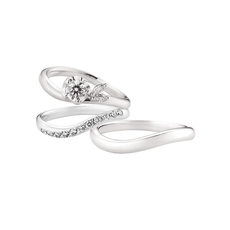 BRIDGEブリッジの雪椿をイメージした婚約指輪エンゲージリング運命の花とセットリング結婚指輪マリッジリングつむぎの取り扱いがあるのは新潟BROOCHブローチだけ