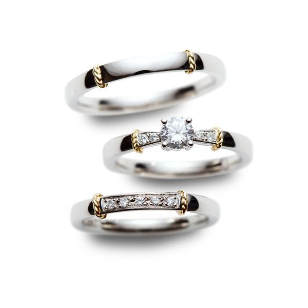 ゴールドとプラチナのコンビネーションでダイヤモンドが華やかなRosetteロゼットの結婚指輪婚約指輪マリッジリングエンゲージリング