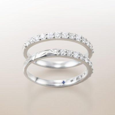 ハワイアンジュエリーの可愛い婚約指輪と結婚指輪のブランドはMAKANAのダイヤモンドエタニティリング