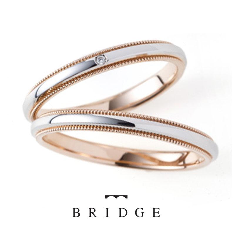 ミル打ちが特徴的なかわいいシンプルなBRIDGEブリッジの結婚指輪婚約指輪マリッジリングエンゲージリング千の彩