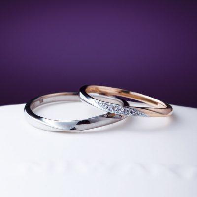 新潟で婚約指輪、結婚指輪を探しなら俄(にわか)の雪の結晶のダイヤモンドと雪景色の重ね着けリング