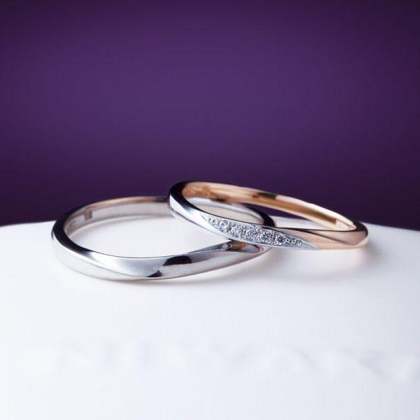 俄 NIWAKA ニワカ 和 日本 雪花景 雪モチーフ プラチナとピンクゴールド 細目 結婚指輪