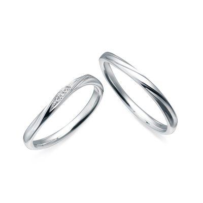 nocur ノクル シンプル 結婚指輪 ウェーブ 指がキレイに見える 指が細く見える ダイヤモンド
