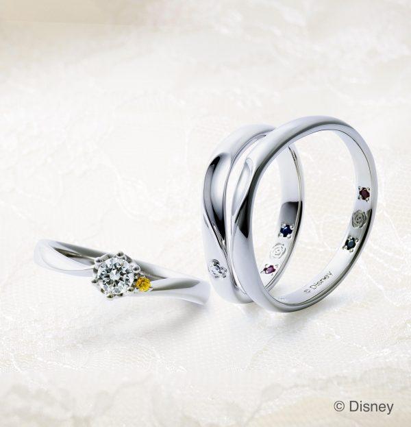 ディズニー ディズニープリンセス ベル 美女と野獣 セットリング 重ね着け 婚約指輪 結婚指輪 エンゲージリング マリッジリング イエローサファイア ディズニーベル ディズニーの婚約指輪 運命の薔薇 真実の薔薇 薔薇モチーフ