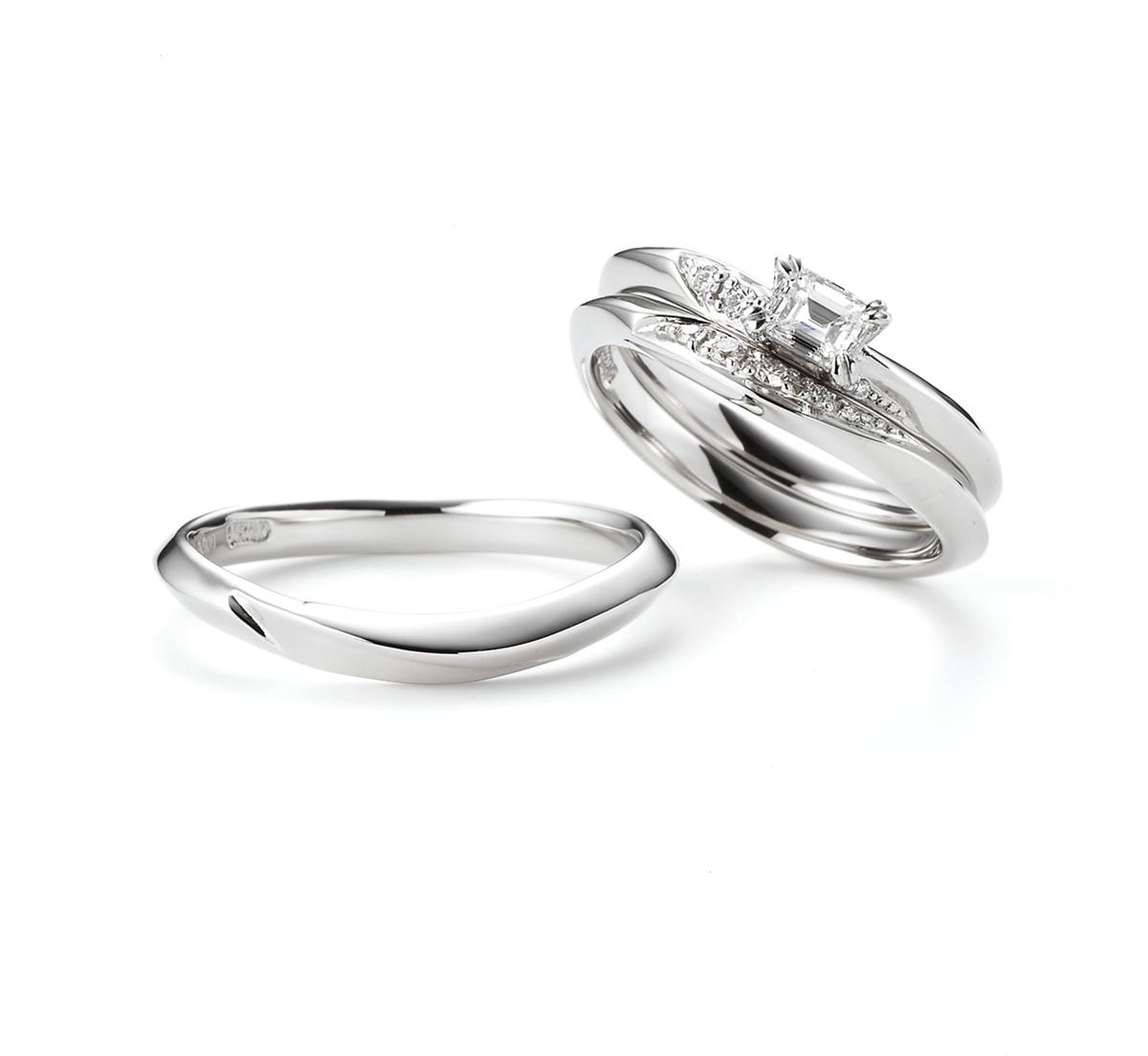 新潟BROOCHオレッキオORECCHIOエメラルドカットダイヤモンド大人可愛い指輪プラチナゴールド