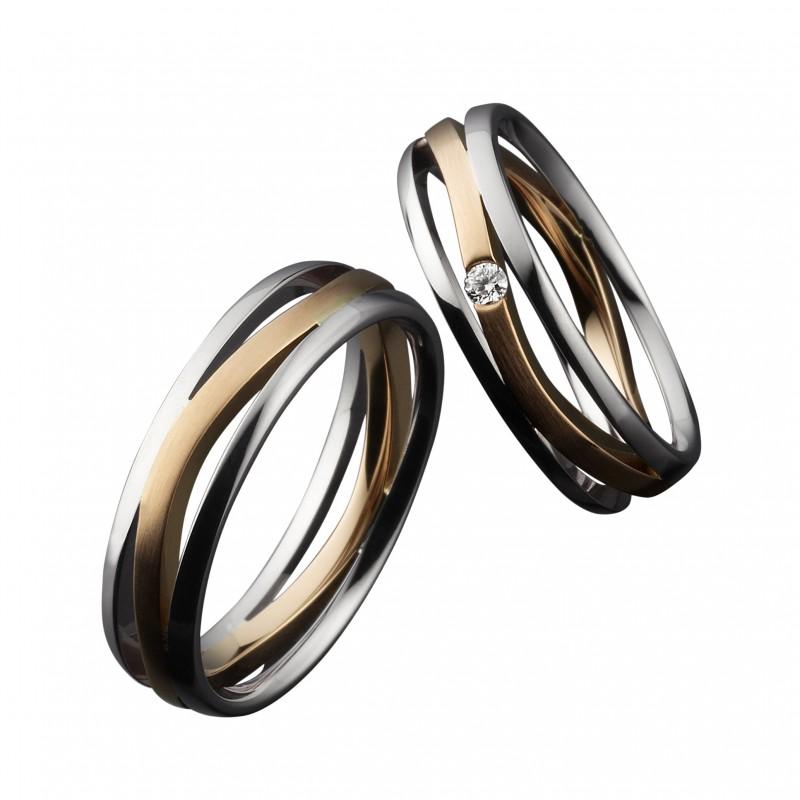 EuroWeddingBand ユーロウェディングバンド ドイツ 鍛造 丈夫 曲がらない 結婚指輪 ドイツデザイン コールドマイスター 幅広 かっこいい 内甲丸 レッドゴールド ホワイトゴールド コンビネーションリング